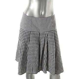 MICHAEL Michael Kors Womens A-Line Skirt Seersucker Checkered