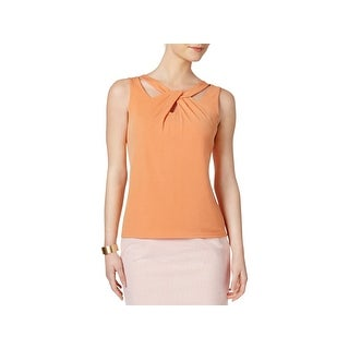 Nine West Womens Tank Top Twist-Front Cut-Out