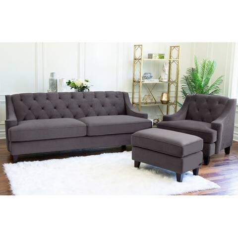 Abbyson Claridge Dark Grey Velvet 3 Piece Livingroom Set