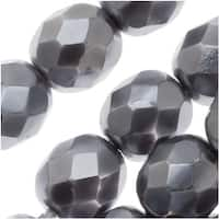 Czech Fire Polished Glass Beads 8mm Round Full Pearlized - Dark Gray (25)