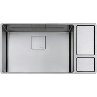 "Franke CUX11024-W Chef Center 33-5/8"" 18-Gauge Undermount Kitchen Sink with Drain Board, Roller Mat, Colander, Cutting Board,"