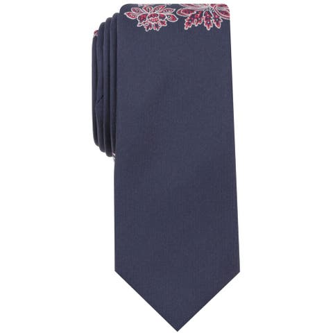 bar III Mens Embroidered Flower Self-tied Necktie, blue, One Size - One Size