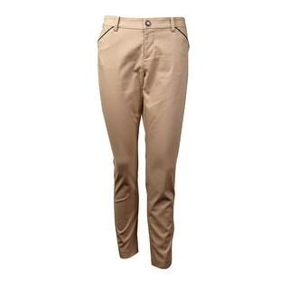 Lauren Ralph Lauren Women's Pleather Trim Slim-Fit Pants - flax tan