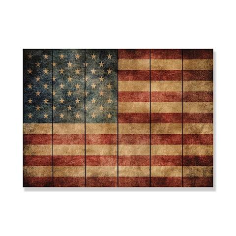 "American Flag on Wood - Wooden Wall Art 33""x24"""