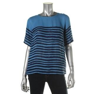 Vince Womens Silk Striped Blouse - S