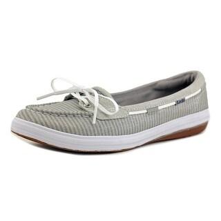 Keds Glimmer Women Moc Toe Canvas Silver Boat Shoe