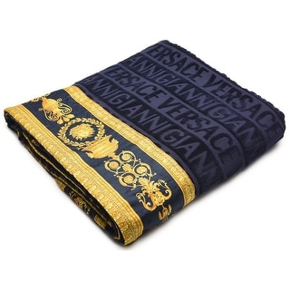 Gianni Versace Unisex Large Throw Bath Beach Towel Medusa Head Barocco Detail Navy Blue