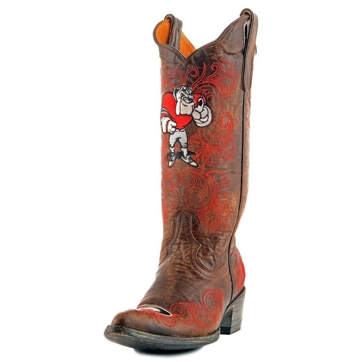 Gameday Boots Womens College Team Georgia Bulldogs Brass Red