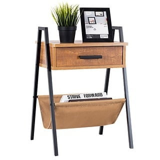 Gymax Accent End Side Sofa Table Nightstand Drawer Display Storage W/ Magazine Holder - as pic