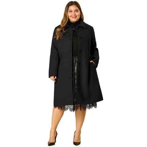 Women's Plus Size Single Breasted Belted Winter Long Coat