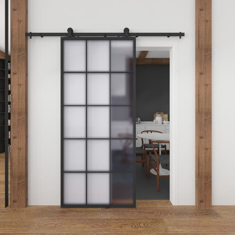 Frosted Glass / Metal Queen's Barn Door with Installation Hardware Kit