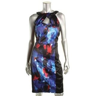 Jax Womens Satin Embellished Cocktail Dress