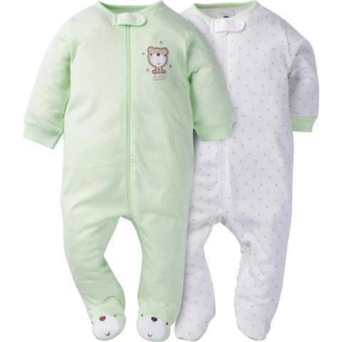 Gerber Baby Unisex 2-Pack Neutral Mint Green Bear Sleep N' Play Cotton Pajamas - Green Bear