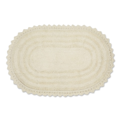 DII Black Large Oval Crochet Bath Mat