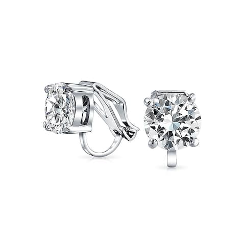 0cfbf4601 2 CT Brilliant Cut Solitaire Round Cubic Zirconia CZ Clip On Stud Earrings  For Women Non