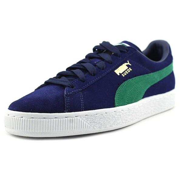 Puma Suede Classic + Men Round Toe Suede Blue Sneakers