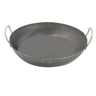 World Cuisine A4171750 Black Steel Paella Pan - 19.625 Inches