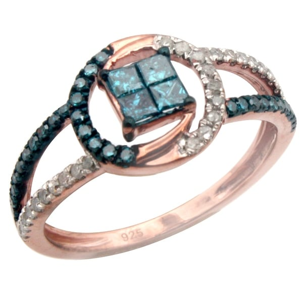 0.50ct Blue Color Princess and Round Diamond With Real Diamond Stylist Engagement Ring