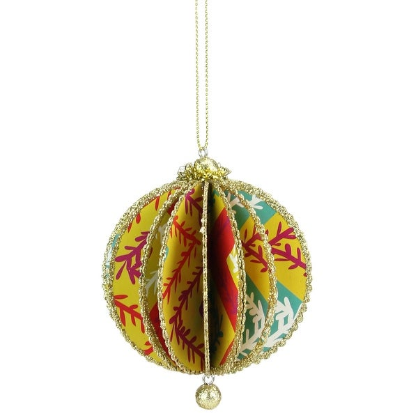 "Bohemian Holiday Bright Funky Floral Zig Zag Vine Print Gold Glittered Sliced Ball Ornament 4"""