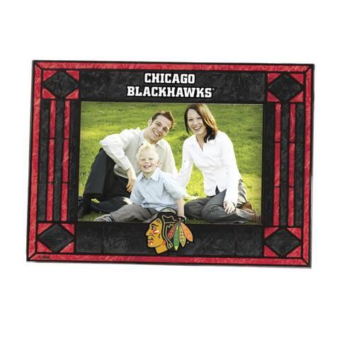 Chicago Blackhawks Art Glass Horizontal Picture Frame