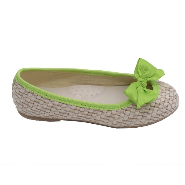 5af01e95576c Shop L Amour Toddler Girls Lime Faux Straw Bow Fashion Flats 7-10 Toddler -  Free Shipping On Orders Over  45 - Overstock - 23082201