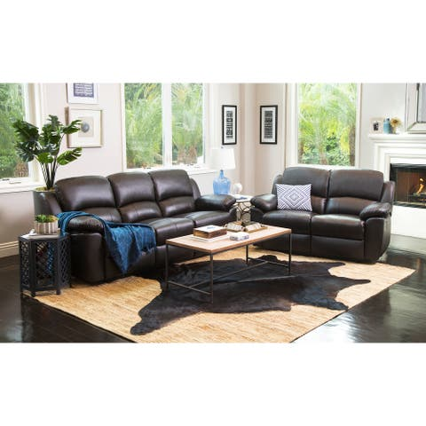 Abbyson Westwood Brown Top Grain Leather Reclining 2 Piece Living Room Set