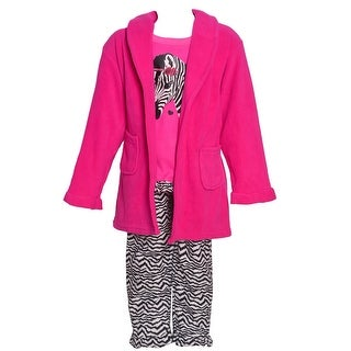 Sol Sleep Little Girls Fuchsia Black Zebra Print Robe Pajamas 3 Pc Set