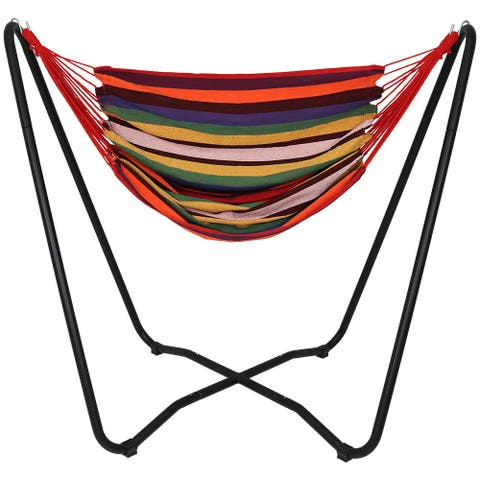 Sunnydaze Hanging Rope Hammock Chair Swing with Space-Saving Stand - Sunset