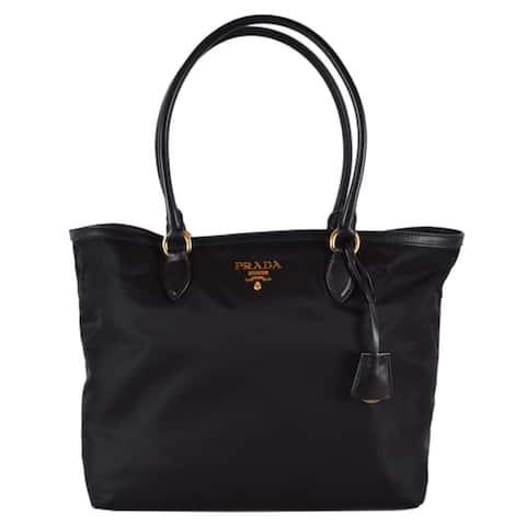 Prada 1BG158 Black Tessuto Nylon Purse Tote Shopper Handbag