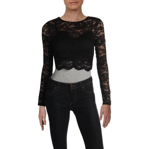 City Studio Womens Juniors Blouse Lace Cropped - Black/Red