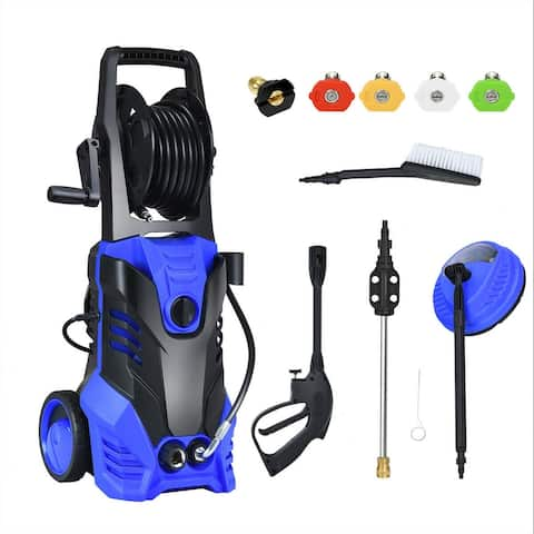 3000 PSI Electric High Pressure Washer With Patio Cleaner -Blue - Blue