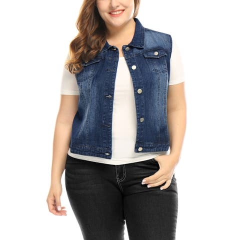 Allegra K Women Plus Size Chest Pockets Denim Vest