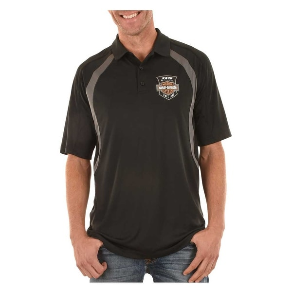 Harley Davidson Men X27 S 115th Anniversary Wasted Metal Polo Shirt Black