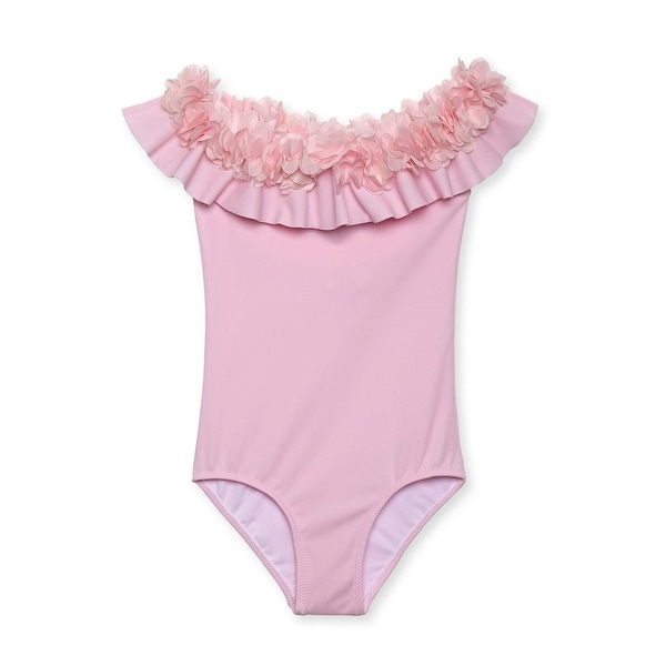 70d3ca9415 Shop Stella Cove Baby Girls Pink Flower Full Shoulder One Piece Swimsuit -  12 Months - Free Shipping Today - Overstock - 25687225