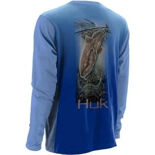 Huk Men's KC Scott Let's Fight Large Carolina Blue Performance Long Sleeve Shirt
