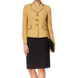 Le Suit NEW Yellow Black Contrast Women's Size 4 Skirt Suit Set
