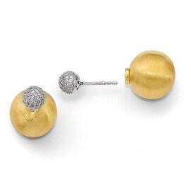 Italian Sterling Silver Gold-tone CZ Front Back Earrings