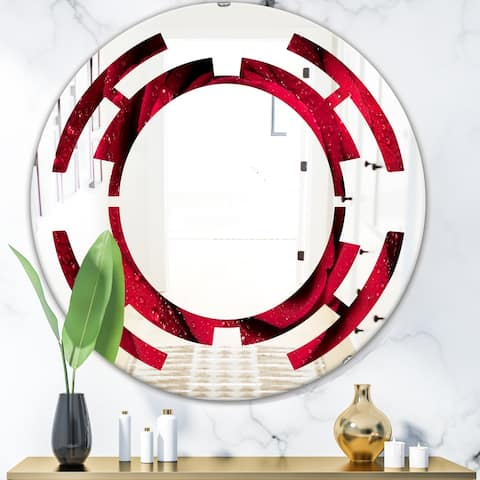 Designart 'Red Rose Petals with Rain Droplets' Modern Round or Oval Wall Mirror - Space
