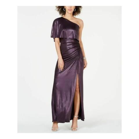 ADRIANNA PAPELL Womens Purple Short Sleeve Maxi Evening Dress Size 6