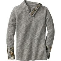 Legendary Whitetails Ladies Hardwoods Camo Button-Neck Thermal - stone heather