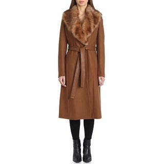 Link to Badgley Mischka Womens Wrap Coat Brown Size Large L Lamb Fur Collar Similar Items in Women's Outerwear