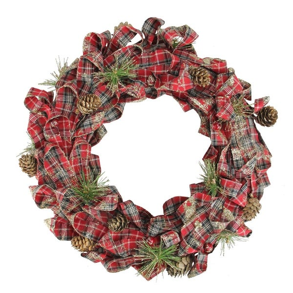 "14.25"" Holiday Moments Red Plaid Bows and Pine Cones Artificial Christmas Wreath - Unlit"