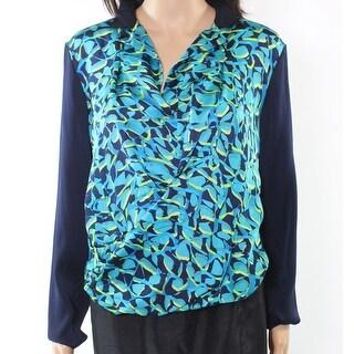 Elie Tahari NEW Blue Women's Size Medium M Printed Split-Neck Blouse Silk