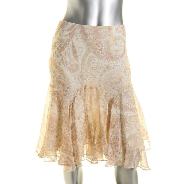 Lauren Ralph Lauren Womens Flounce Skirt Chiffon Printed