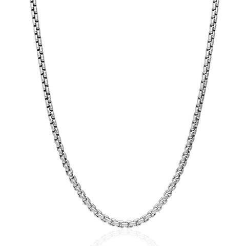 .925 Solid Sterling Silver 2.5MM Round Box Link .925 Rhodium Necklace Chain, Silver Chain for Men & Women, Made in Italy