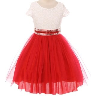 Flower Girl Dress Mesh Skirt with Pearl & Stone Belt Red JKS 2045