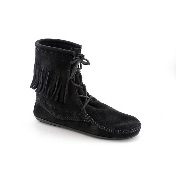 Minnetonka Tramper Women Round Toe Suede Black Ankle Boot