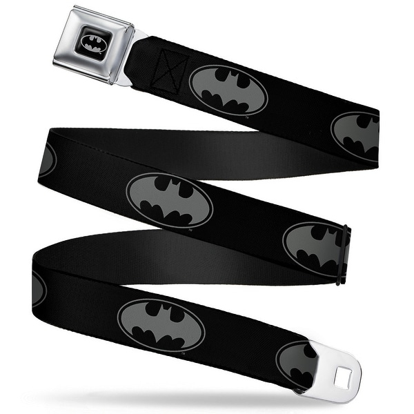 Batman Full Color Black Silver Black Bat Signal 3 Black Gray Black Webbing Seatbelt Belt