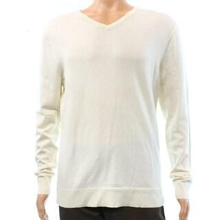 Alfani White Ivory Mens Size Large L Pullover V-Neck Sweater