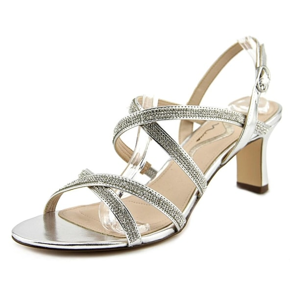 Nina Norisa Women Open Toe Synthetic Silver Sandals